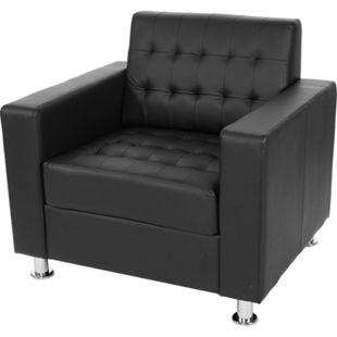Sessel Pori, Clubsessel Loungesessel, Kunstleder, Metall-Füße ~ schwarz - Bild 1