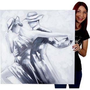 Wandbild Tanzpaar, 100% handgemaltes Ölgemälde Gemälde XL, 80x80cm - Bild 1