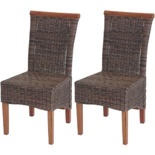 2x Esszimmerstuhl Sinio, Stuhl Küchenstuhl, Rattan ~ ohne Sitzkissen - Bild 1
