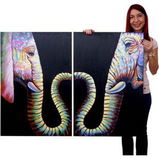 Wandbild 2x Elefant, 100% handgemaltes Ölgemälde Gemälde XL, 90x60cm - Bild 1