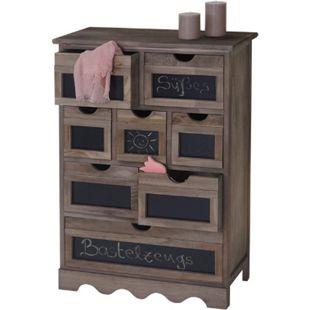 Kommode Venlo, Schubladenschrank mit Tafel, Shabby-Look Vintage 87x60x30 ~ braun - Bild 1