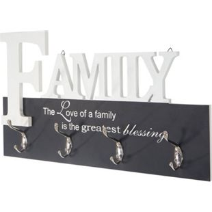 Wandgarderobe Familie, Garderobenleiste Garderobe, mit 8 Haken 28x50cm - Bild 1