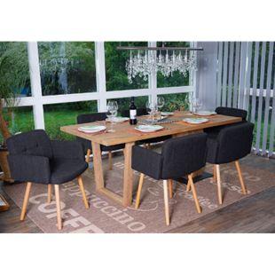 6x Esszimmerstuhl Houston II, Stuhl Küchenstuhl, Retro-Design ~ Textil, dunkelgrau - Bild 1