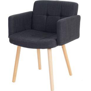 Esszimmerstuhl Houston II, Stuhl Küchenstuhl, Retro-Design ~ Textil, dunkelgrau - Bild 1