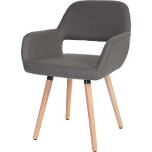 Esszimmerstuhl MCW-A50 II, Stuhl Küchenstuhl, Retro 50er Jahre Design ~ Kunstleder, grau - Bild 1