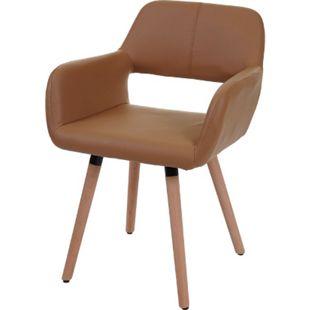 Esszimmerstuhl MCW-A50 II, Stuhl Küchenstuhl, Retro 50er Jahre Design ~ Kunstleder, nussbraun - Bild 1