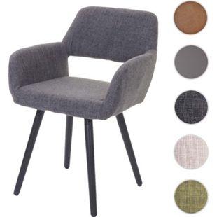 Esszimmerstuhl MCW A50 II, Stuhl Küchenstuhl, Retro 50er Jahre Design ~ Textil, grau, dunkle Beine
