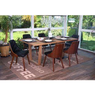 6x Esszimmerstuhl MCW-A75, Besucherstuhl Küchenstuhl, Walnuss-Optik Bugholz ~ Kunstleder schwarz - Bild 1