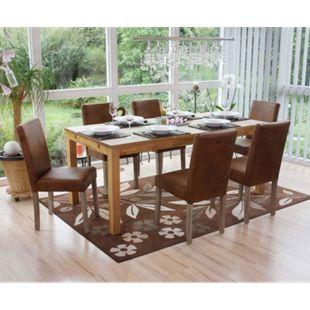 6x Esszimmerstuhl Littau, Stuhl Küchenstuhl ~ Textil, Wildlederimitat, Beine Struktur - Eiche - Bild 1