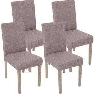 4x Esszimmerstuhl Littau, Stuhl Küchenstuhl ~ Textil, grau, Beine Struktur - Eiche - Bild 1