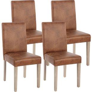 4x Esszimmerstuhl Littau, Stuhl Küchenstuhl ~ Textil, Wildlederimitat, Beine Struktur - Eiche - Bild 1