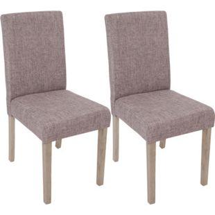 2x Esszimmerstuhl Littau, Stuhl Küchenstuhl ~ Textil, grau, Beine Struktur - Eiche - Bild 1