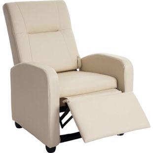 Fernsehsessel Dallas Basic, Relaxsessel Relaxliege Sessel, Kunstleder ~ creme - Bild 1