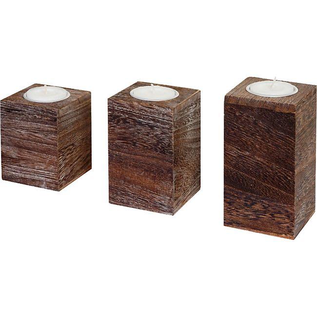 3er Set S+M+L Teelichthalter MCW-C58, Teelichtständer, Shabby-Look Vintage ~ braun - Bild 1