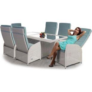 Luxus Poly-Rattan-Garnitur Burgos, Premium Lounge Set Alu-Sitzgruppe Tisch + 6 verstellbare Stühle ~ hellgrau - Bild 1
