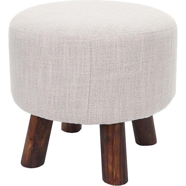 Sitzhocker Vichy, Ottomane Hocker Fußhocker, Ø 42cm rund ~ Textil beige - Bild 1