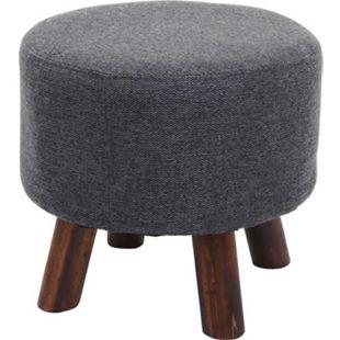Sitzhocker MCW-C29, Ottomane Hocker Fußhocker, Ø 42cm rund ~ Stoff/Textil anthrazit-grau - Bild 1