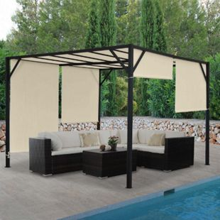 Pergola Beja, Garten Pavillon Terrassenüberdachung, stabiles 6cm-Stahl-Gestell + Schiebedach ~ 3x3m - Bild 1