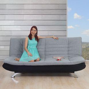 Sofa Coimbra, Loungesofa Couch, Textil grau/schwarz - Bild 1