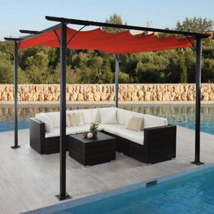 Pergola MCW-C42, Garten Pavillon, stabiles 6cm-Gestell + Schiebedach ~ 3x3m terrakotta - Bild 1