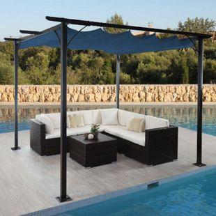 Pergola MCW-C42, Garten Pavillon, stabiles 6cm-Gestell + Schiebedach ~ 3x3m blau - Bild 1