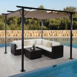 Pergola MCW-C42, Garten Pavillon, stabiles 6cm-Gestell + Schiebedach ~ 3x3m taupe-braun - Bild 1