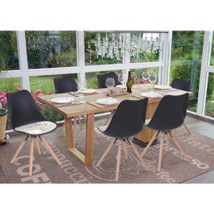 6x Esszimmerstuhl Vaasa T501, Retro Design ~ schwarz, Sitzfläche Textil Schriftzug, helle Beine - Bild 1