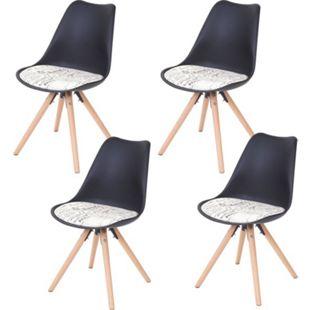 4x Esszimmerstuhl Vaasa T501, Retro Design ~ schwarz, Sitzfläche Textil Schriftzug, helle Beine - Bild 1