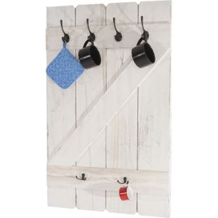 Tassenhalter MCW-D13, Hängeregal Tassenbrett Wandboard, 6 Haken 91x60cm ~ shabby-weiß - Bild 1