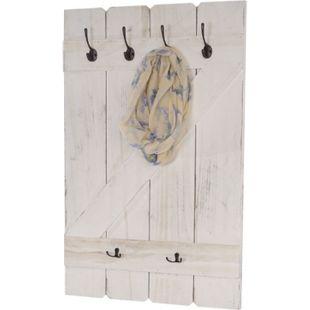 Wandgarderobe MCW-D13, Garderobe Garderobenpaneel, 6 Haken 91x60cm ~ shabby-weiß - Bild 1