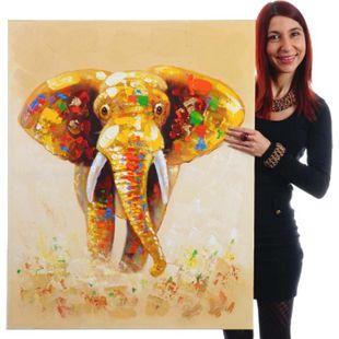 Wandbild Elefant, 100% handgemaltes Ölgemälde Gemälde XL, 100x80cm - Bild 1