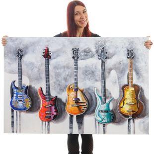 Wandbild Gitarren, 100% handgemaltes Ölgemälde 3D-Bild Gemälde XL, 120x80cm - Bild 1