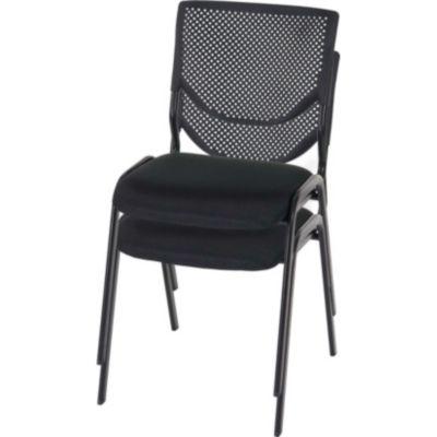 2x Besucherstuhl H401, Konferenzstuhl stapelbar, Stoff/Textil ~ Sitz schwarz, Füße schwarz