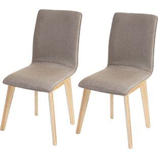 2x Esszimmerstuhl Kolding, Stuhl Küchenstuhl, Retro 50er Jahre Design, Stoff/Textil ~ braun mit Naht - Bild 1