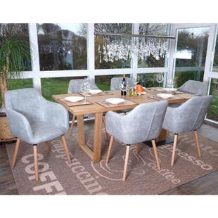 6x Esszimmerstuhl Vaasa T381, Stuhl Küchenstuhl, Retro 50er Jahre Design ~ Textil, vintage betongrau, helle Beine - Bild 1