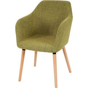 Esszimmerstuhl Vaasa T381, Stuhl Küchenstuhl, Retro 50er Jahre Design ~ Textil, hellgrün, helle Beine - Bild 1