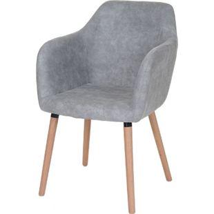 Esszimmerstuhl Vaasa T381, Stuhl Küchenstuhl, Retro 50er Jahre Design ~ Textil, vintage betongrau, helle Beine