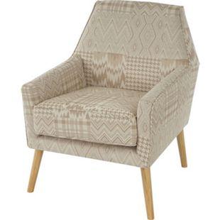 Sessel Vaasa T372, Loungesessel Polstersessel, Retro 50er Jahre Design, Stoff/Textil ~ beige/braun - Bild 1