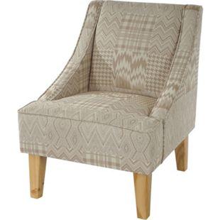 Sessel Vaasa T371, Loungesessel Polstersessel, Retro 50er Jahre Design, Stoff/Textil ~ beige/braun - Bild 1
