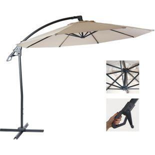 Deluxe Ampelschirm MCW-D14, Sonnenschirm, rund Ø 3m Polyester Alu/Stahl 14kg ~ creme-weiß ohne Ständer - Bild 1