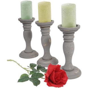 3er Set Kerzenständer H361, Kerzenhalter, Shabby-Look Vintage Höhe 24cm ~ grau - Bild 1