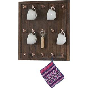 Tassenhalter Monaco, Hängeregal Tassenbrett Wandboard, Shabby-Look Vintage 50x45x5cm ~ braun - Bild 1