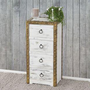 Kommode Ambato, Schubladenkommode Schrank, 4 Schubladen 70x33x26cm Shabby-Look Vintage ~ weiß - Bild 1