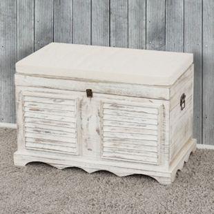 Holztruhe Sitzbank Aufbewahrungstruhe 50x76x45cm, Shabby-Chic Vintage ~ weiß - Bild 1