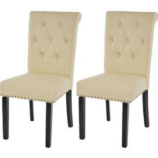 2x Esszimmerstuhl Chesterfield Edinburgh II, Stuhl Küchenstuhl, Nieten ~ Kunstleder, creme, dunkle Beine - Bild 1