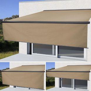 Elektrische Vollkassetten-Markise H124, 4,5x3m ausfahrbarer Volant ~ Polyester Creme, anthrazit - Bild 1