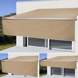 Elektrische Kassetten-Markise H124, Vollkassette, 4x3m ausfahrbarer Volant ~ Polyester Creme - Bild 1