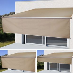 Elektrische Vollkassetten-Markise H124, 4x3m ausfahrbarer Volant ~ Polyester Sand - Bild 1