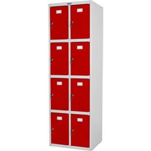 Schließfach Valberg H335, Schließfachschrank Wertfachschrank Doppel-Spind, Metall 183x58x50cm ~ rot - Bild 1
