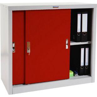Aktenschrank Valberg H333, Metallschrank Büroschrank Stahlschrank, 2 Schiebetüren 83x91x46cm ~ rot - Bild 1